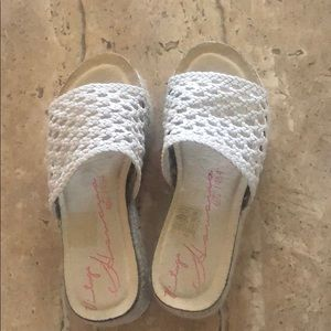 Off white lace top sandals..